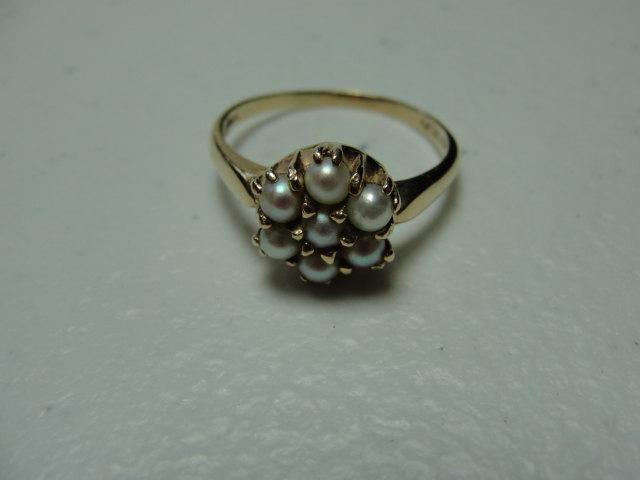 Wedding - Vintage 14k and pearl ballerena or dome ring