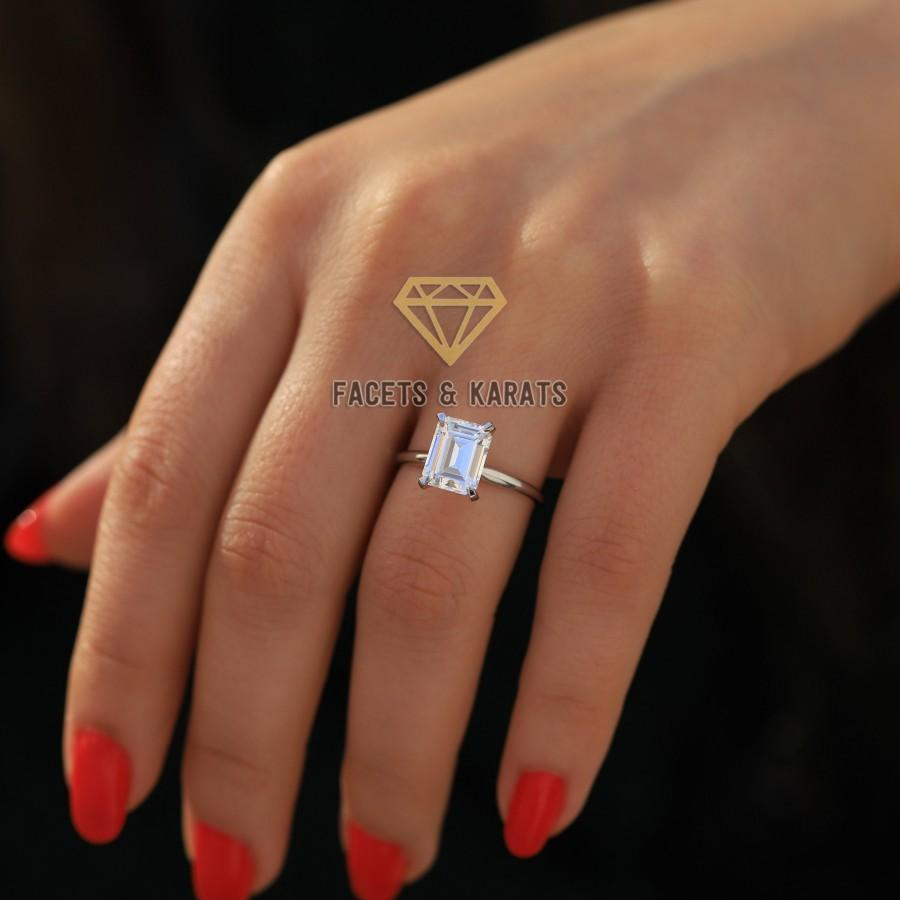 Wedding - 2.5 Carat Emerald Cut Solitaire Engagement Ring Set in 14K Solid White Gold Available in Rose Gold, Yellow Gold by Facets & Karats on Etsy