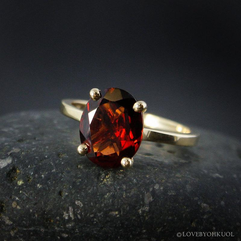 Wedding - Yellow Gold Oval Cut Garnet Ring, Prong Set Red Oval Engagement Ring, January Birthstone Ring, Alternative Bridal Ring