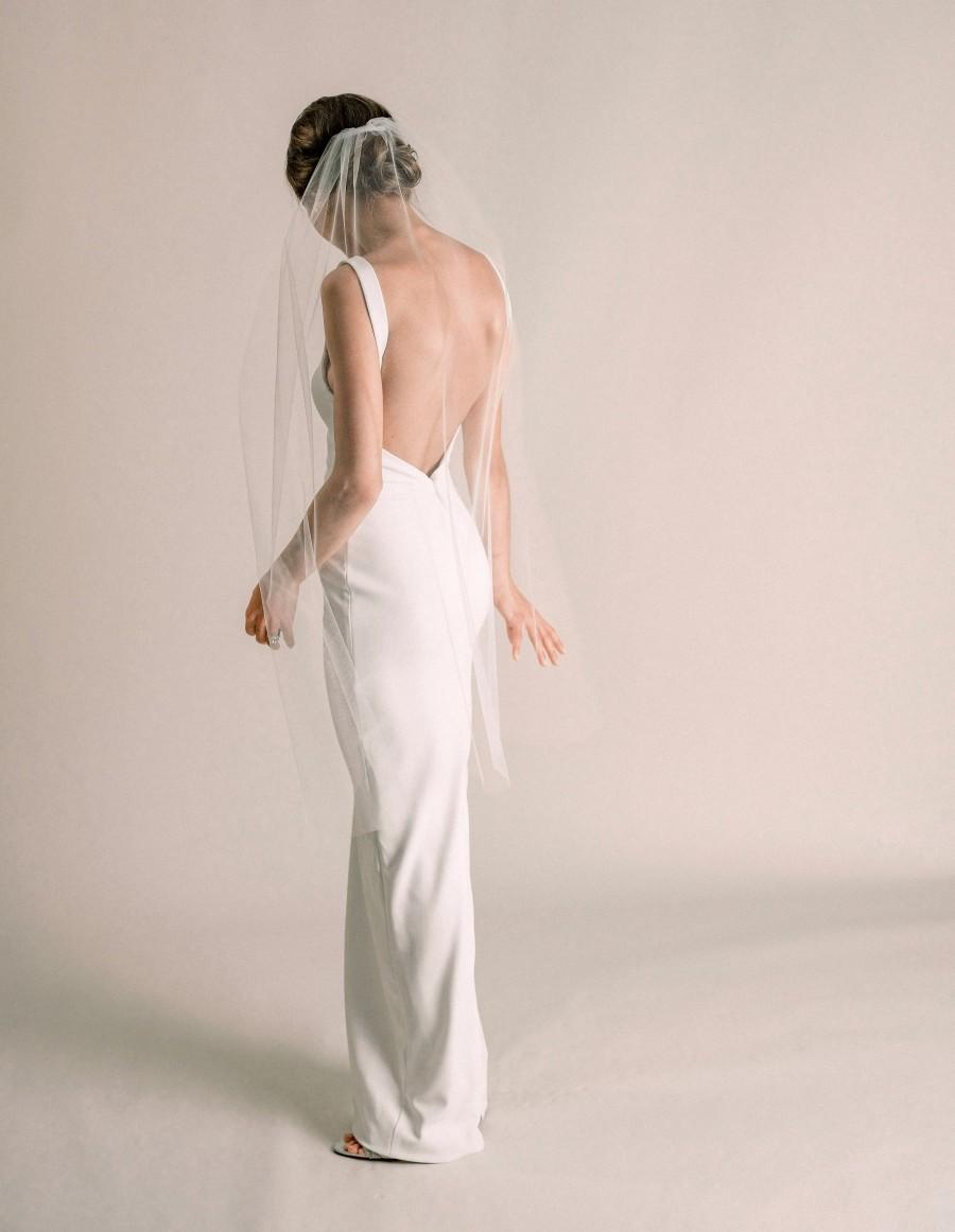 Wedding - Kylie Veil - Fingertip Length Veil with Minimal Volume, Simple Short Wedding Veil, Soft Bridal Veil, Ivory, White, Tulle, 3039