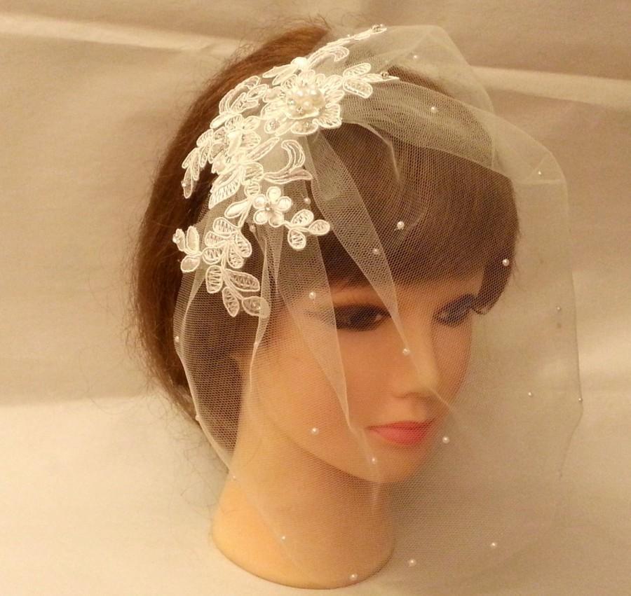 Hochzeit - 10% off Sale White Ivory Tulle birdcage veil w Lace fascinator Diamonte Pearls Bridal veil Blusher veil Bandeaue veil