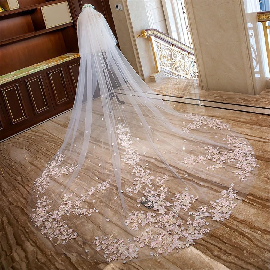 زفاف - Cathedral Wedding Veil//Hem Lace//Blush Pink Flower//Flower Veil//Long Bridal Veil//Long Veil Hair Accessory