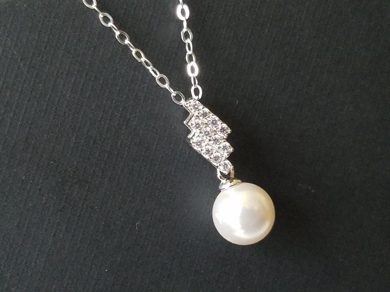 Wedding - White Pearl Sterling Silver Necklace, Swarovski 8mm Pearl Pendant, Wedding Pearl Necklace, White Single Pearl Pendant, Pearl Bridal Jewelry,