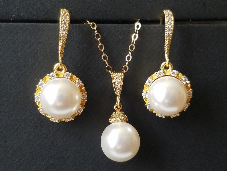 Mariage - Pearl Gold Bridal Jewelry Set, Swarovski White Pearl Earrings&Necklace Set, Pearl Halo Earrings, White Pearl Pendant, Wedding Bridal Jewelry