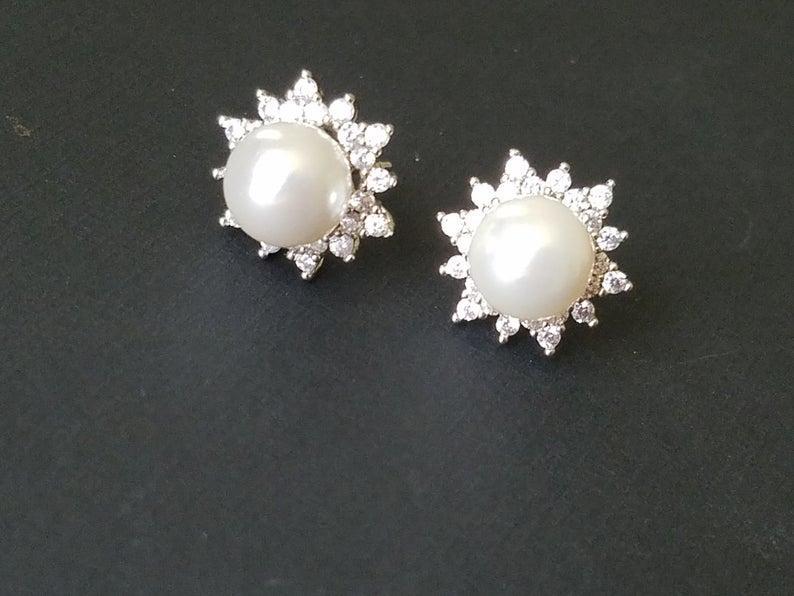 Mariage - Pearl Stud Bridal Earrings, Swarovski White Pearl Silver Earrings, Pearl Halo Earrings, Wedding Bridal Jewelry, Pearl Cubic Zirconia Studs