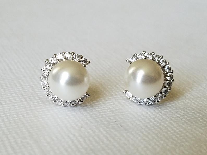Hochzeit - White Pearl Stud Earrings, Swarovski Pearl CZ Earrings, Bridal Pearl Silver Earring Studs, Wedding Pearl Bridal Jewelry, Dainty Pearl Studs
