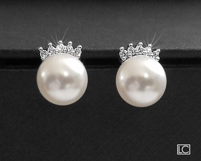 Mariage - White Pearl Wedding Earrings, Swarovski 8mm Pearl CZ Earrings, Bridal Pearl Earring Studs, Wedding Jewelry, Bridesmaids Earrings, Prom Studs