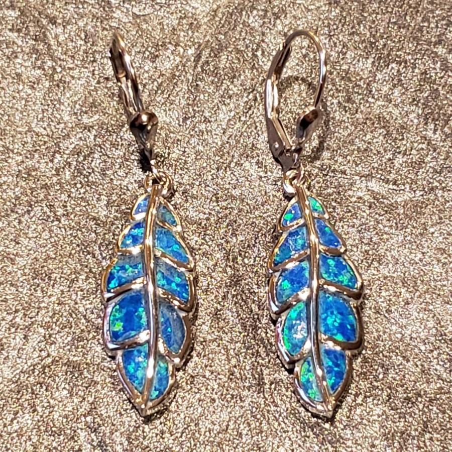 Hochzeit - Blue opal earrings dangly leaf earrings Greek inspired sterling silver 925 made in Greece.
