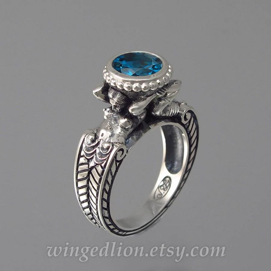 زفاف - CARYAID 14k white gold ring with London Blue Topaz