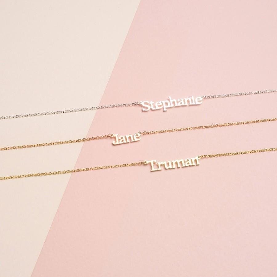 Hochzeit - Custom Name Necklace - Personalized Name Necklace  - Minimal Name Jewelry - Custom Word Necklace - Gold Personalized Word #PN02F111