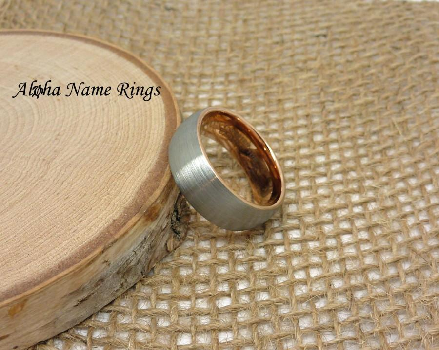 Hochzeit - 6 - 8mm Brushed Silver With Rose Gold Inside. Solid Tungsten Carbide Ring. Comfort Fit Wedding Band for Men and Women .