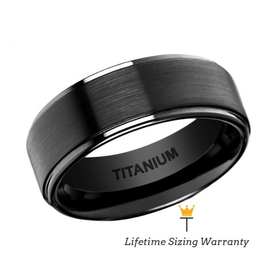 Hochzeit - Flat Black Titanium Ring with Brushed Raised Center & Polished Edges, Mens Super Light Wedding, Engagement,Anniversary, Promise Ring For Him