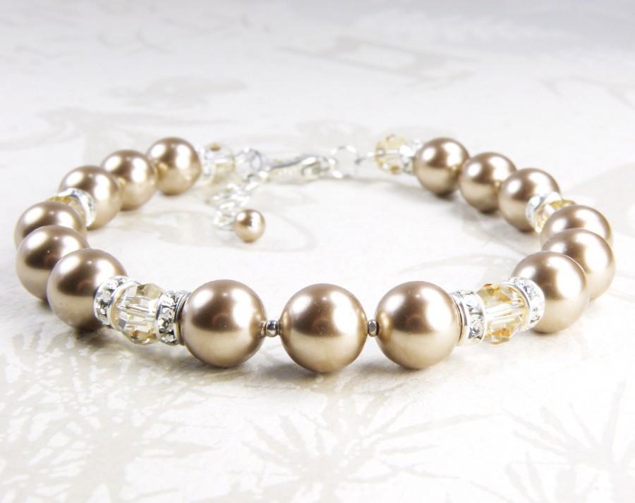 زفاف - Taupe Pearl Bracelet, Swarovski Crystal, Sterling Silver, Beige Bridesmaid Bracelet, Handmade Wedding Jewelry Gift, June Birthday