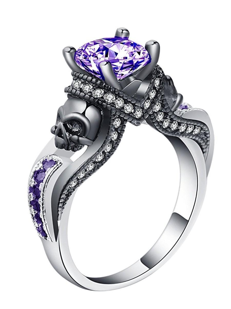 Hochzeit - Chasity Engagement Ring Girls or Womens Black Skulls Goth Punk Style