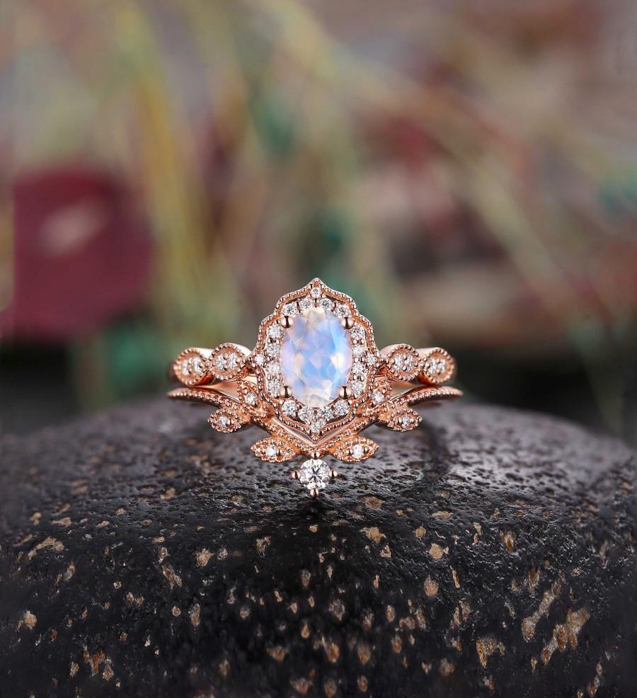 زفاف - Oval cut moonstone engagement ring set Rose gold moissanite vintage leaf curved Wedding band women Jewelry Anniversary gift for her