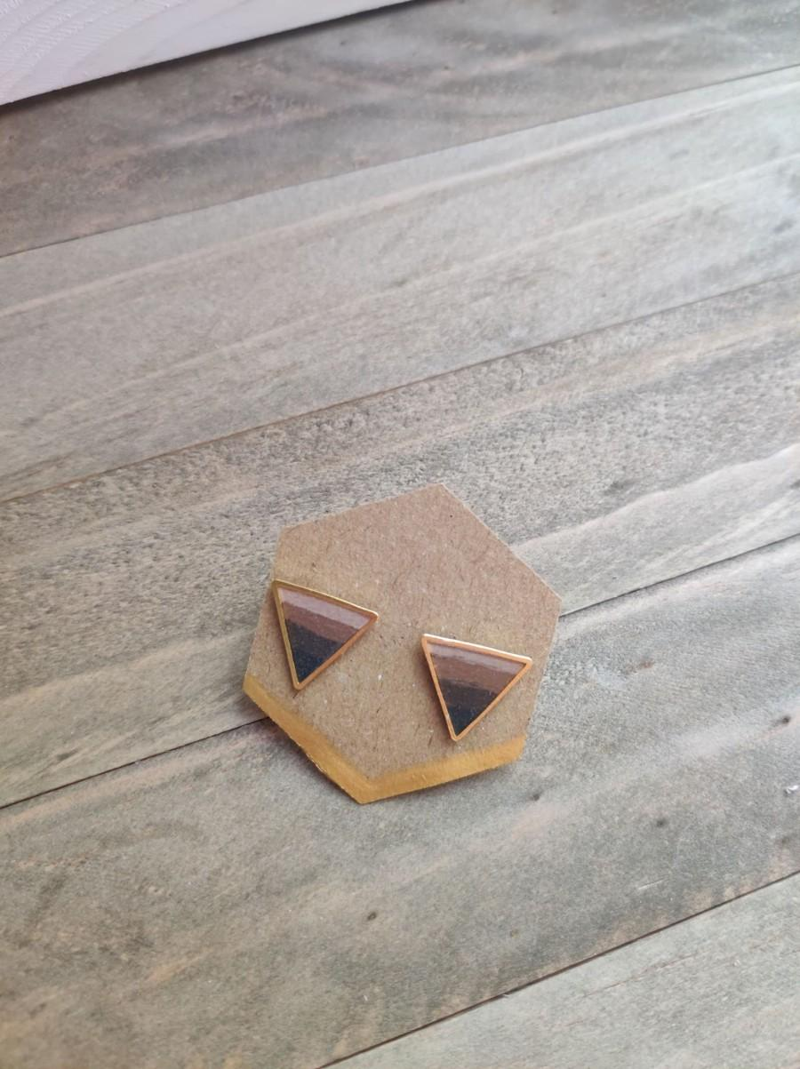 Mariage - Hand Painted Ombre Chocolate, Espresso, Beige Triangle Stud set in Gold Metal and Resin