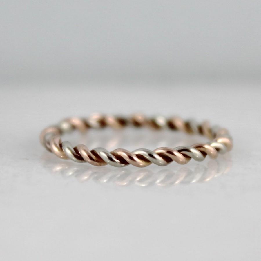 Hochzeit - 14K Rose and White Gold Wedding Band - Twist Band - Stacking Ring  - Pink and White Gold Wedding Band - Friendship Ring