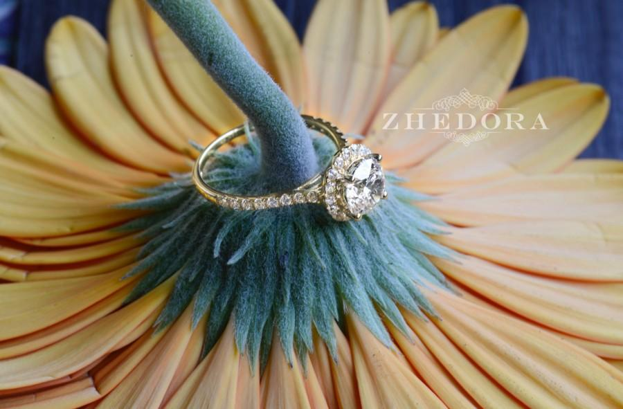 Hochzeit - 1.90 CT Engagement Ring Round Cut Halo Solid 14k Yellow Gold Bridal band, Moissanite Engagement Ring, Forever One Halo Engagement Ring