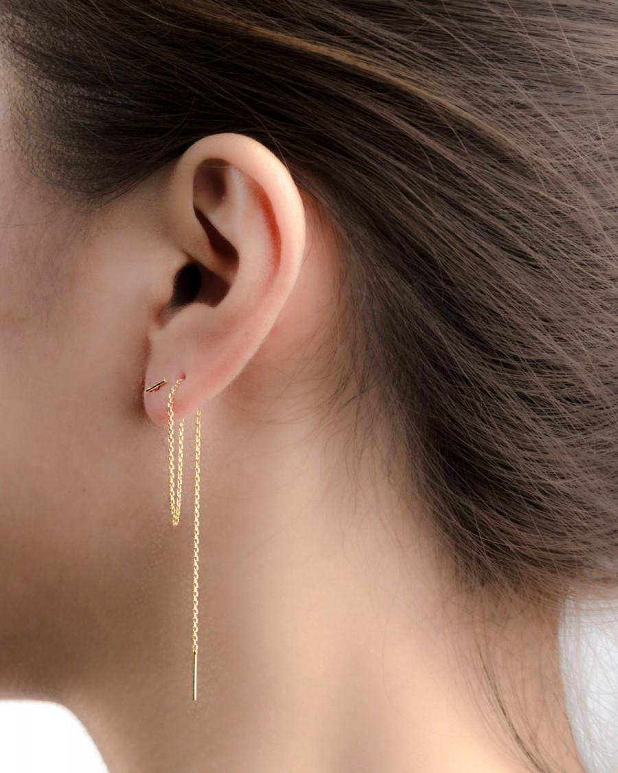 زفاف - Long Threader Earrings - Delicate Chain Earrings - Edgy Earrings - Pull Trough Earrings - Bar Ear Threader - String Earrings - CHE024