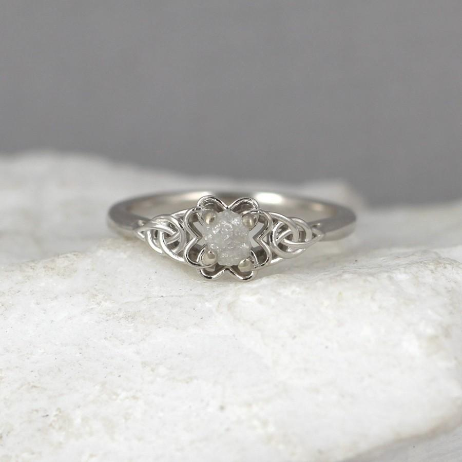 Mariage - 14K White Gold Celtic Knot Uncut Diamond Ring - Raw Diamond Engagement Ring - Rough Diamond Wedding Ring - Made in Canada