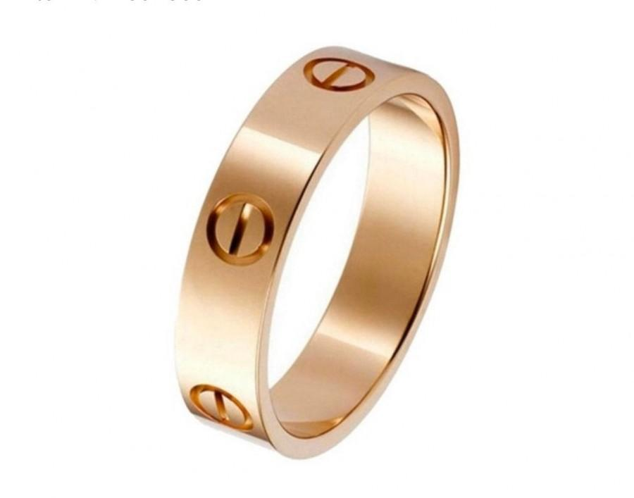Hochzeit - Designer Screw Style 316L Stainless Steel Silver/Gold/Rose Gold Band Rings all Nails Pattern for Women and Men Sizes 6 to 11 Love Logo