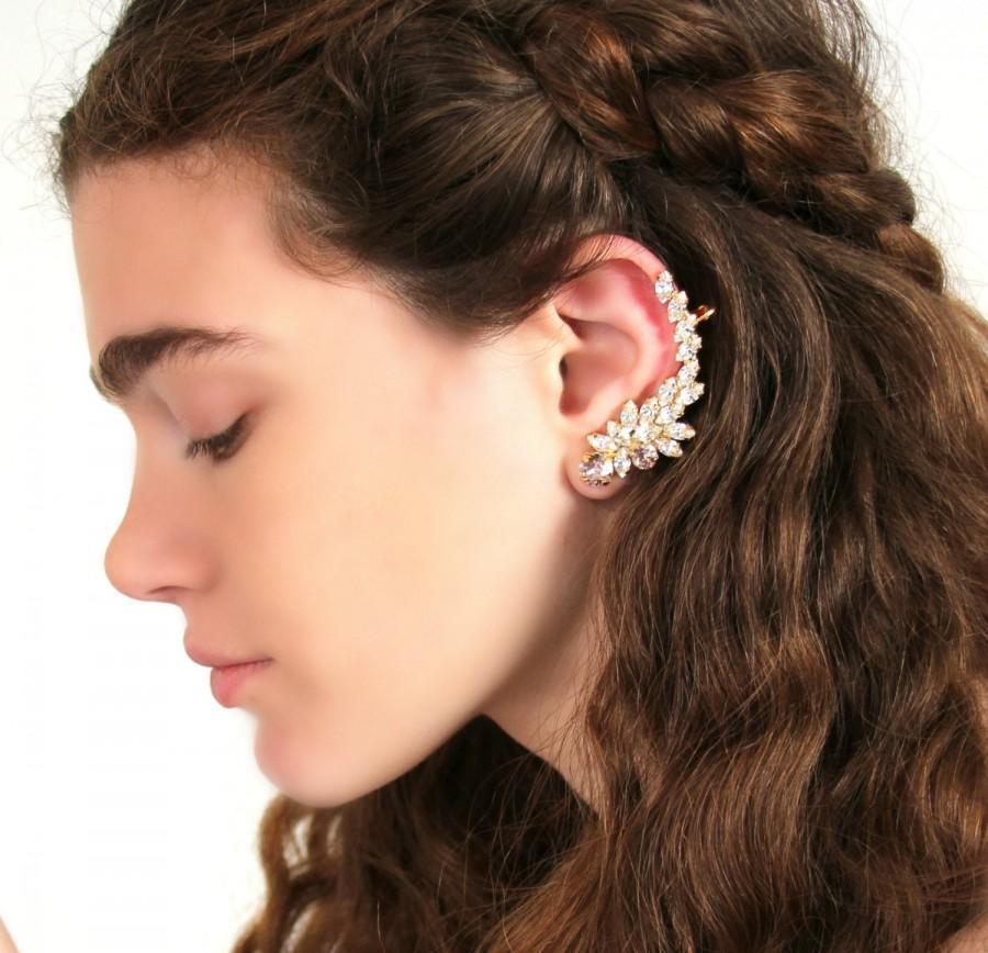 Hochzeit - Ear Cuff Earrings,Bridal Ear Climber,Swarovski Ear Crawler Earrings,Bridal jewelry, Wedding Crystal earring,Crystal Ear Cuff,Bridal Jewelry