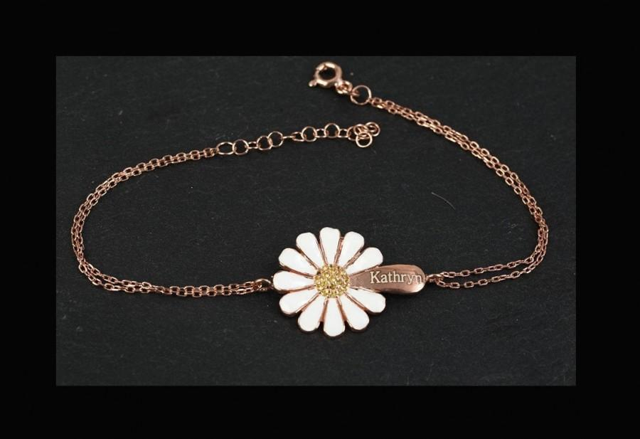 Wedding - Daisy Camomile Custom Name Bracelet / Customized Personalized Special Flower Bracelet / 925 Solid Sterling Silver Bracelet