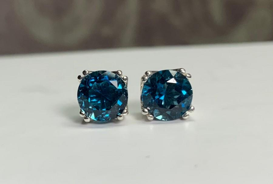 Свадьба - Round Natural London Blue Topaz Set in Sterling Silver Double Prong Filigree Stud Earrings 4mm 5mm 6mm 8mm Screw-back or Push-back posts