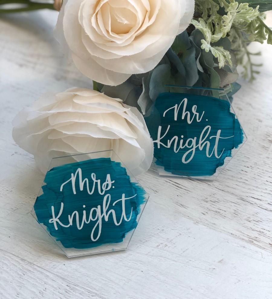 Mariage - Hexagon Acrylic Wedding Place Cards