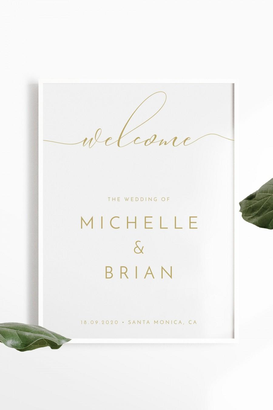 Mariage - Gold Minimalist Wedding Welcome Sign Template, Modern Wedding Welcome Sign, Printable Welcome Sign Wedding, Instant Download Wedding Signage