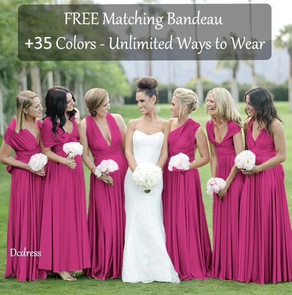 Свадьба - Magenta Bridesmaid Dress Magenta Infinity Dress , Convertible Dress, Multi wrap dress, Prom Dress, Spring Dress. Suummer Dress