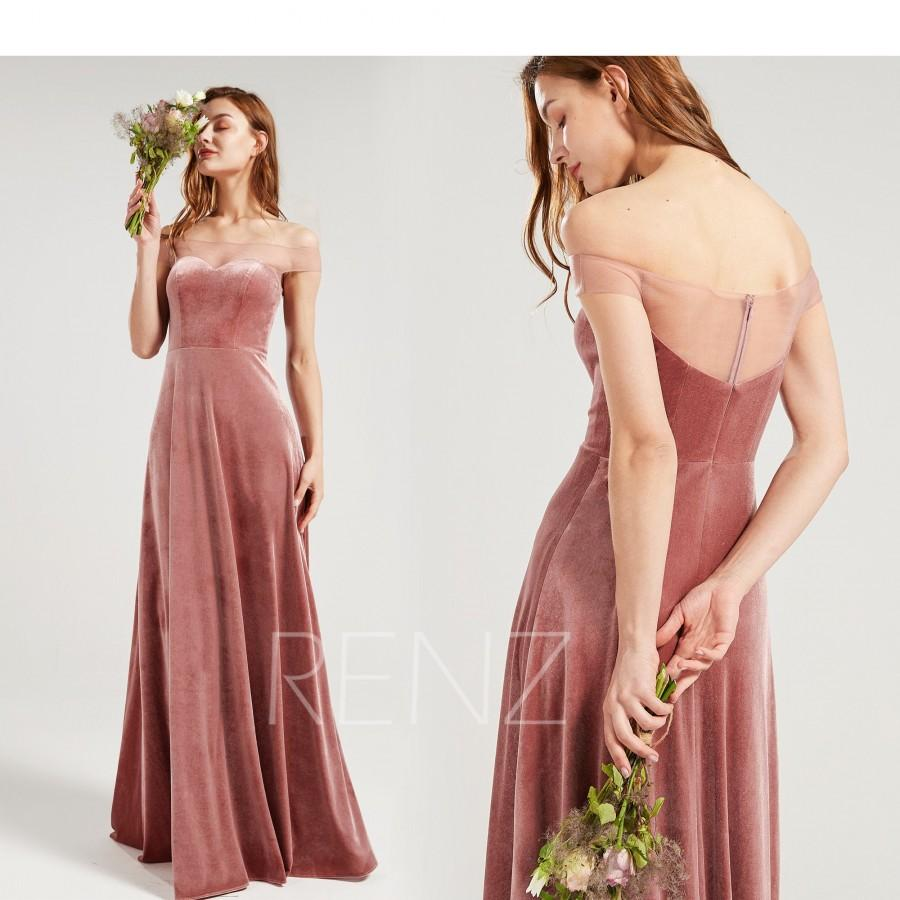 Hochzeit - Bridesmaid Dress Dusty Rose Velvet Wedding Dress Off the Shoulder Formal Dress A-line Maxi Dress Straight Across Neckline Prom Dress (HV963)