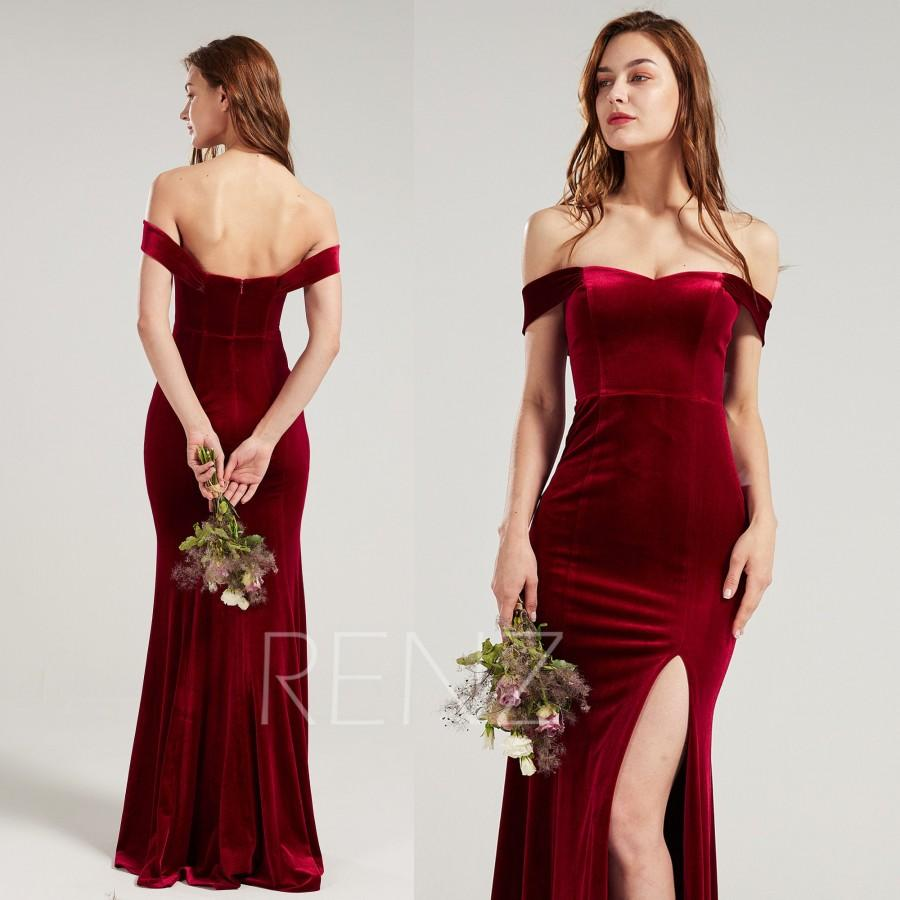 Свадьба - Formal Dress Wine Velvet Bridesmaid Dress Sweehtheart Neckline Party Dress Long Slit Fitted Evening Dress Off the Shoulder Prom Dress(HV962)
