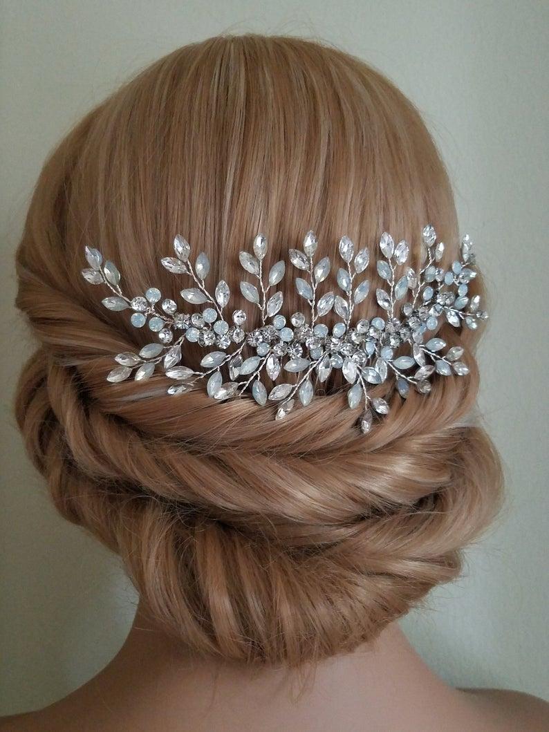 Mariage - Bridal Crystal Hair Comb, Crystal Hair Piece, Wedding Floral Hairpiece, Wedding Hair Jewelry, Bridal Headpiece, Wedding Crystal Hairpiece