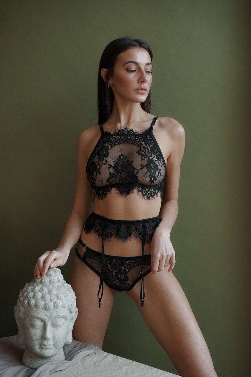 Wedding - Black lingerie set,Sexy underwear,Body harness,See through lingerie,Black bralette,Hot lingerie,Harness lingerie,Erotic lingerie,Wife Gift