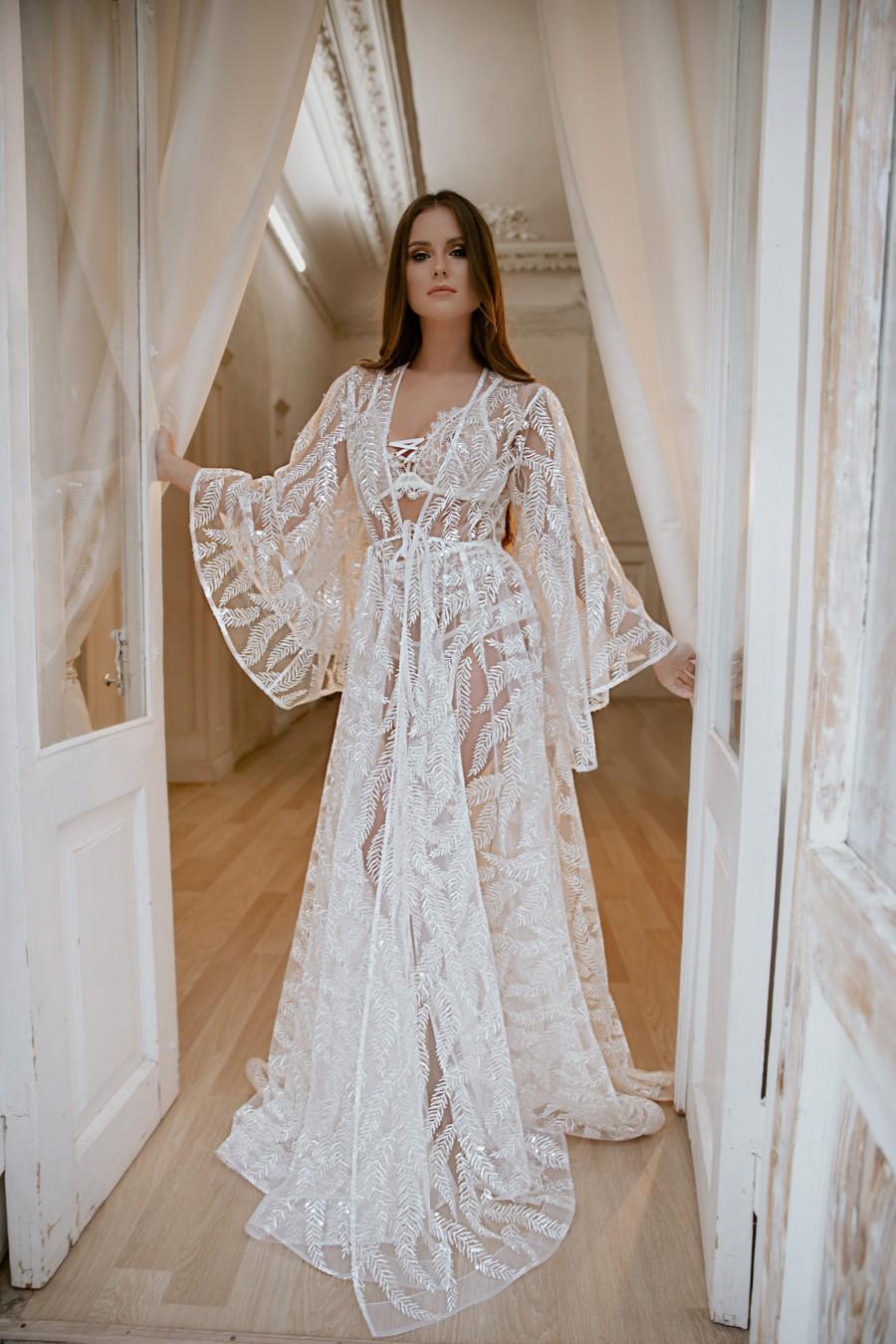 Wedding - Wedding long bridal robe, Boudoir lingerie, Long robe bride, Boudoir wedding gown, Bridal robe, Sheer robe lingerie, Bridal lingerie