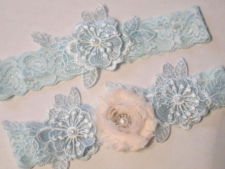Wedding - Powder Blue & Blush Wedding Garter Set, Something Blue Lace Garters, Rhinestone, Light Blue Lace Bride's Garter w/ Blush, Blue Prom Garters
