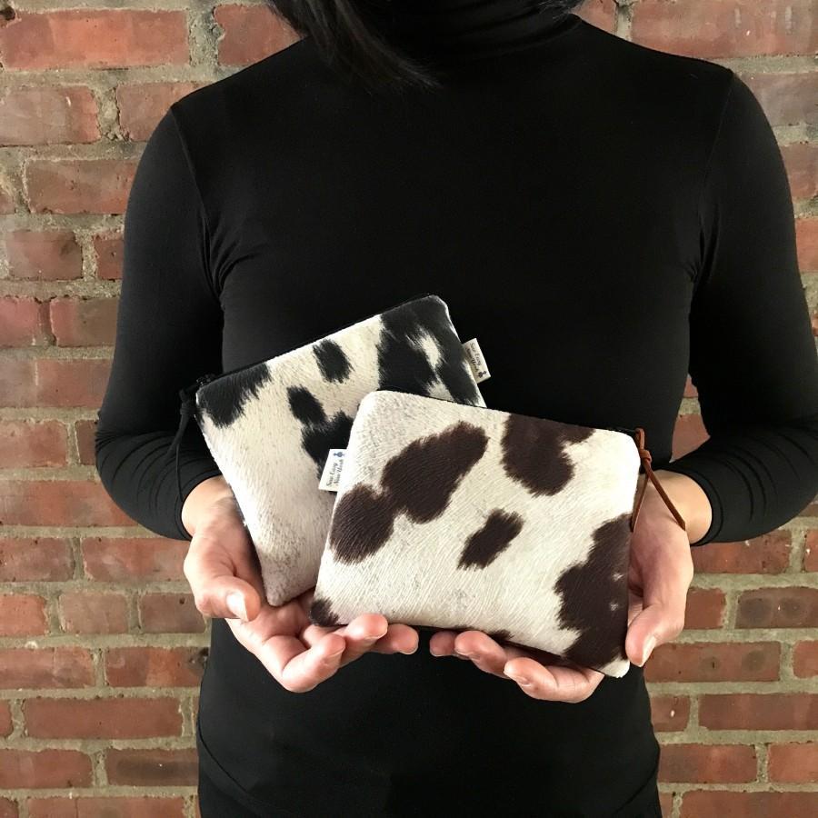 Hochzeit - Cowhide bag, Faux cowhide purse, Black Cowhide, Brown Cowhide, Cowhide purse, Cowhide wallet,Cowhide Makeup bag, Zip purse,Cowhide zip purse