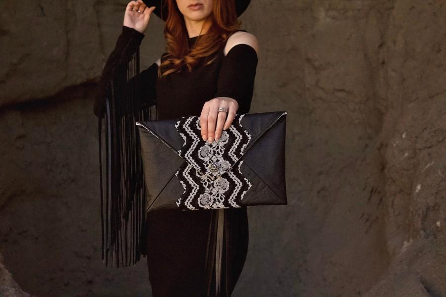زفاف - Envelope Lace Clutch Bag, Vegan Leather Clutch Handbag, Wedding Purse