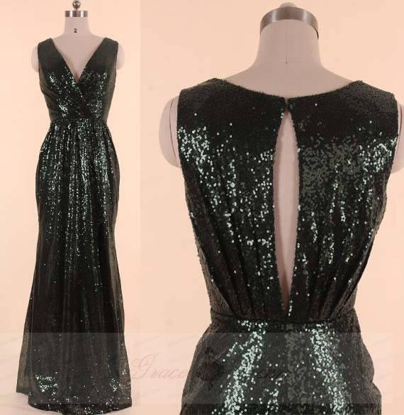 زفاف - Dark Green Bridesmaid Dresses,High Slit Sequin Wedding Dress,Custom V Neckline Prom Dress,Keyhole Back Evening Dresses Sparkle Mermaid Gown