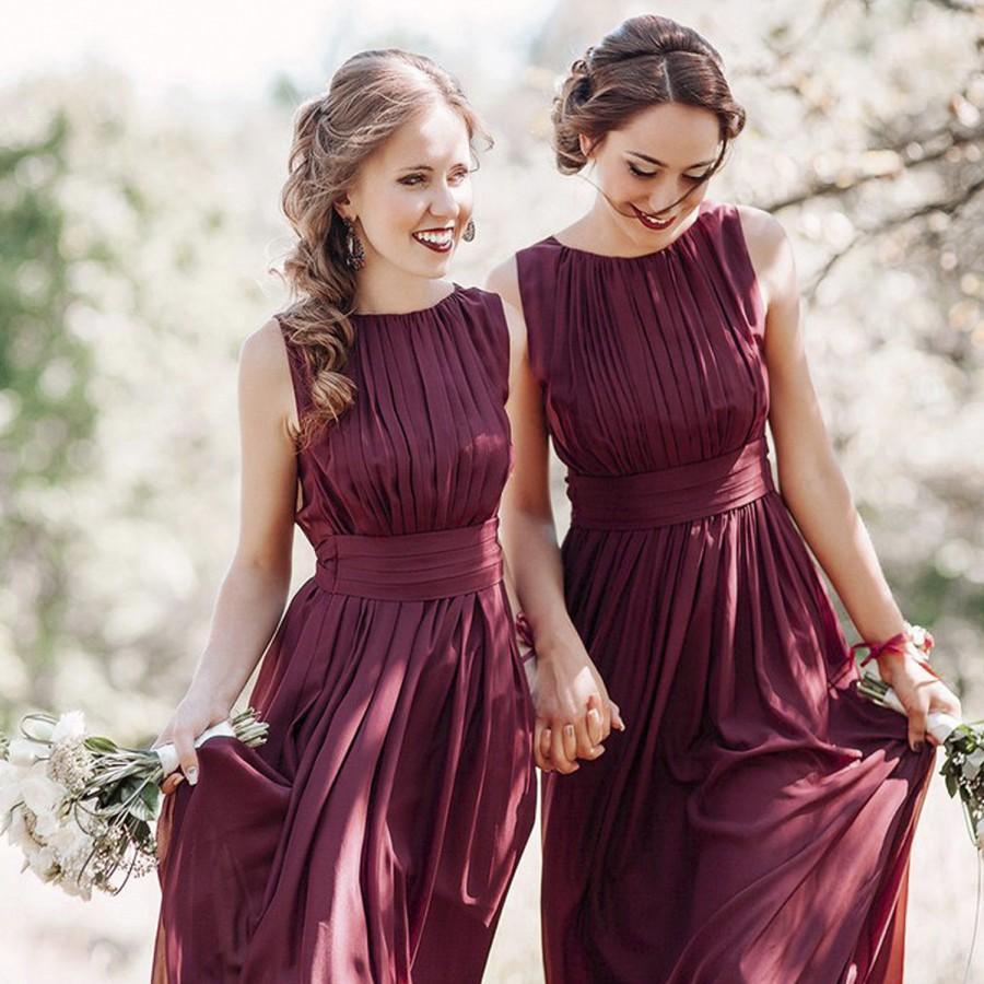 Mariage - Bridesmaid Dress Marsala Maxi / Woman long chiffon dress / Elegant floor length gown / Wine flowy bridesmaid dress / Burgundy party dress