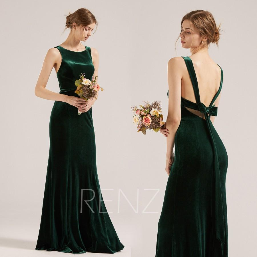 Wedding - Bridesmaid Dress Dark Green Velvet Prom Dress Long Boat Neck Sheath Party Dress Open Back Fitted Formal Dress with Bow Tie Back(RV013)