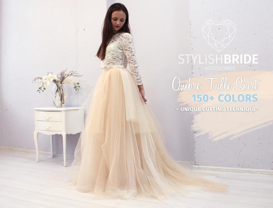 Mariage - Magic Ombre Wedding Tulle Dress Train, Set Lace 003 Crop Top with Sleeves and Tulle skirt long, Bridal Tulle Gown, Wedding Nude Tulle Skirt