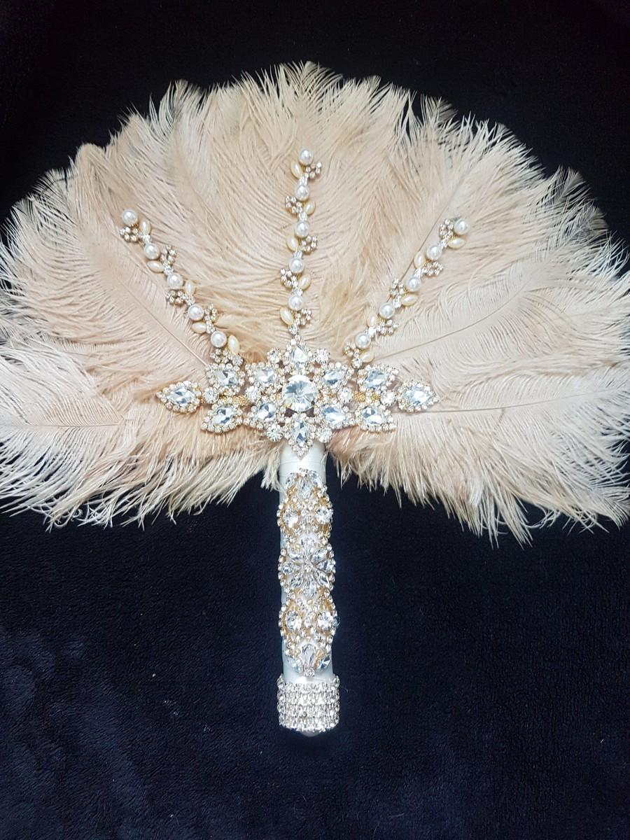 زفاف - Feather Fan wedding bouquet, Ostrich feather bouquet