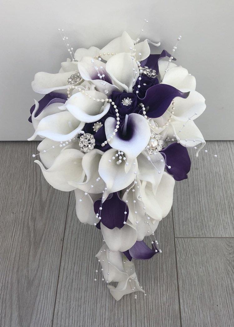Свадьба - Bride purple and white calla lily teardrop bouquet artificial wedding flowers real touch calla lilies foam roses pearls diamante brooches