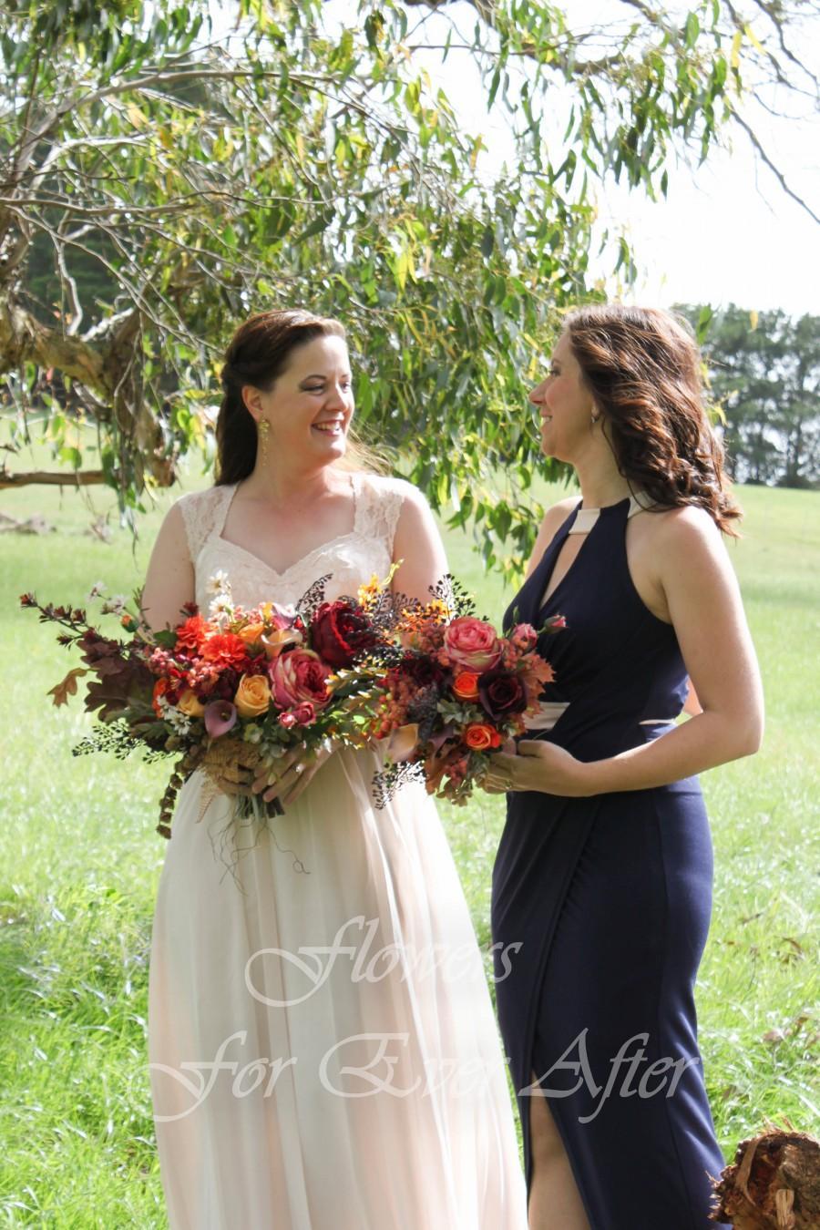 زفاف - Leanna Bride Bouquet, Boho bouquet, Rustic bride flowers, Autumn Fall Silk Wedding posy, Artificial Wedding Flowers, burnt orange burgundy