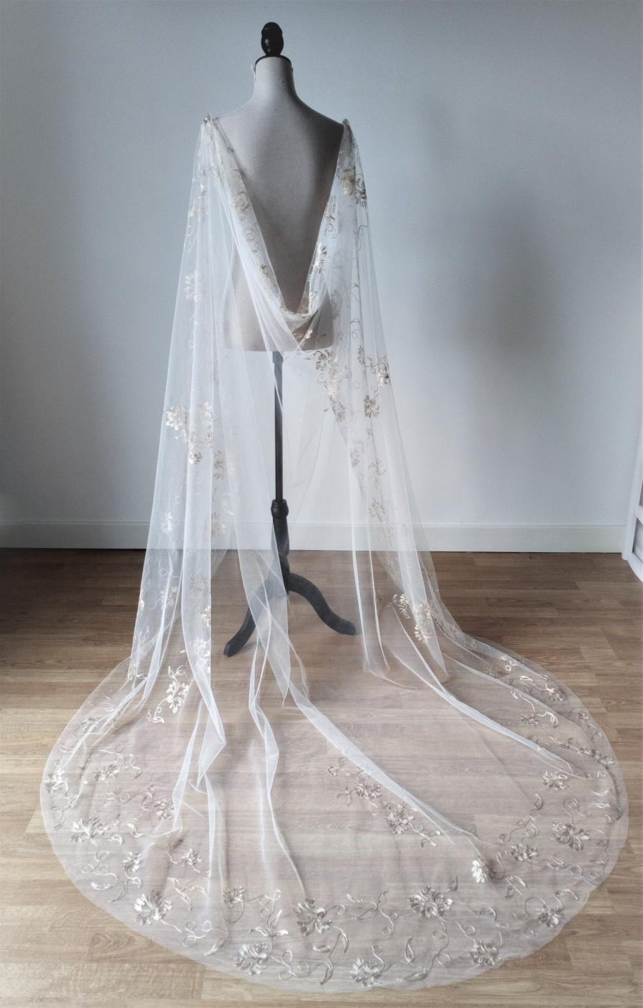 Wedding - Tulle Wedding Cloak, Wedding Cape Veil, Embroidered Wedding Cloak, Pagan Wedding Cape, Alternative Wedding Cape, Viking Wedding, Cape Veil