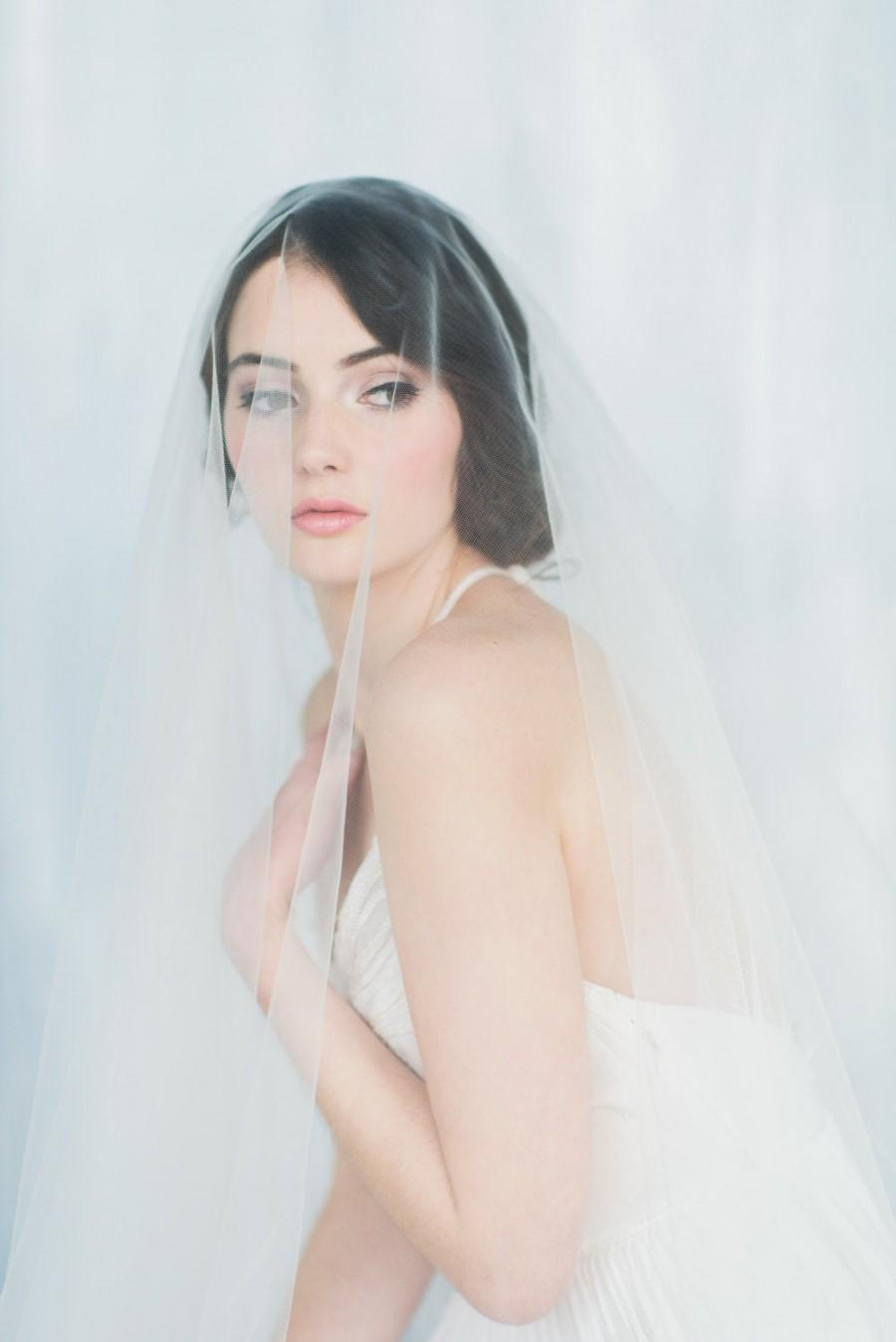زفاف - Ivory Tulle Drop Veil, Off White Blusher Veil, Circle Veil, White Wedding Veil, Simple Modern Soft Veil, Fingertip Veil, NATALIA