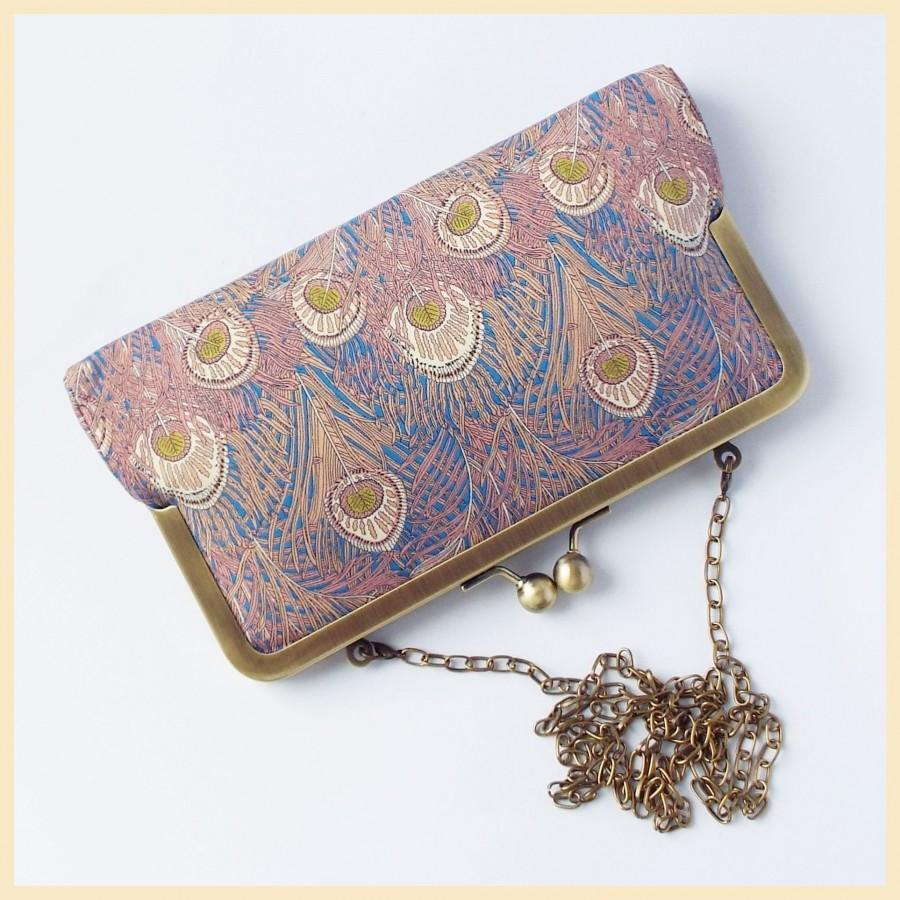 Hochzeit - clutch bag, wedding purse, peacock bag in Liberty of London 'Hera' print
