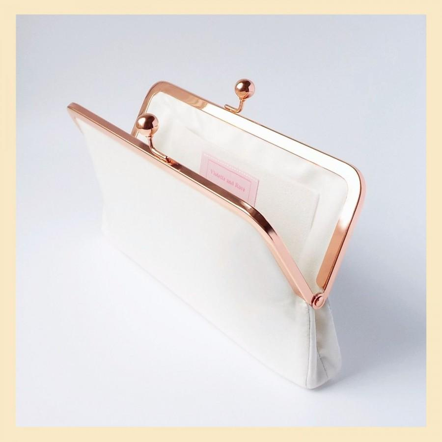 زفاف - Wedding clutch bag, ivory silk handbag for the Bride, handmade bridal purse with personalisation, rose gold kisslock frame purse